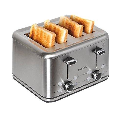 Toaster Edelstahl / Brötchen Toaster | mit vier Schlitzen | 7 verschiedene Rösteinstellungen | 1512- 1800 Watt | Auftau- und Aufwärmfunktion | Krümelschublade | Abbruchtaste – Brabantia BBEK1031N