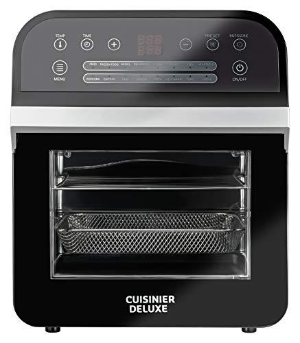 Cuisinier Deluxe Digitale Heißluftfritteuse 12 Liter Volumen | Multifunktions-Airfryer mit Drehspieß | 1600W | 16 Programme | Grillen, Backen, Dörren mit einem Gerät | inkl.Zubehör +Ofenhandschuh