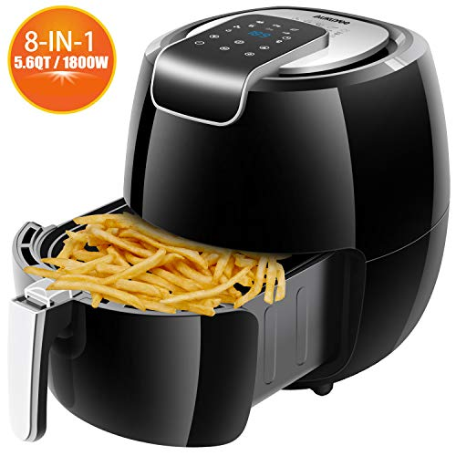AUKUYEE Heißluftfritteuse, Fritteuse Ohne Fett, Heißluftfritteuse Ohne Öl, Air Fryer, 5.3L, 1800W,XL, Multifunktional, digitalem Touch Display, Rezeptheft Schwarz