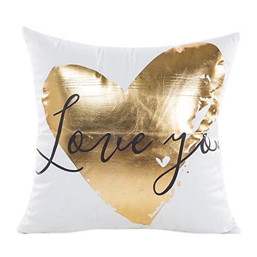 LuckyGirls Kissenbezug 45 x 45 cm Gold folie Druck kopfkissenbezüge Sofa Bett Auto Home Decor Festival Kissenhülle G
