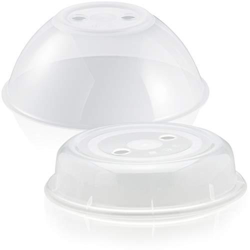 2er Set groß und klein – spülmaschinengeeignet und BPA-frei, ideal als Abdeckhaube Spritzschutz Deckel Teller Haube für die Mikrowelle – Hausfelder Mikrowellenhaube XL Mikrowellen Abdeckung