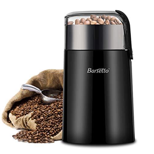 Kaffeemühle Barsetto Elektrische One-Touch HyperGrind Precision Edelstahlklingenmühle mit großer Mahlleistung und rauschfreiem Motor auch für Kaffeebohnen Gewürze Kräuter Nüsse Körner
