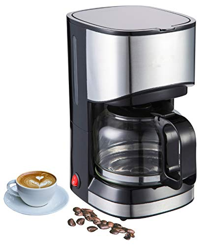 Edelstahldesign Kaffeemaschine   Filterkaffeemaschine   Kaffeefiltermaschine   Tropfstopp-Funktion   Drehbarer Filterbehälter   550 Watt   Warmhalteplatte   Wasserstandsanzeige  