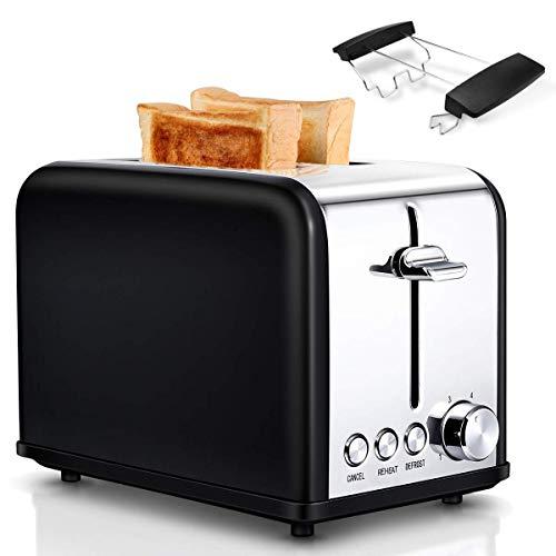 Toaster, 2 Schlitzkammern, 6 Bräunungsstufen, Automatik, 815 W, Auftauen, Aufwärmen, Absagen, Liftfunktion, mit Brötchenaufsatz und Krümelschublade, Edelstahl| Schwarze