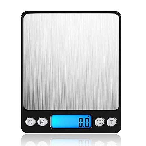 Professionelle Elektronische Waage mit beleuchteter LCD-Anzeige, 3kg/0,1g Kapazität | Schwarz – LEMCASE Digitale Küchenwaage – Feinwaage, Taschenwaage, Digitalwaage