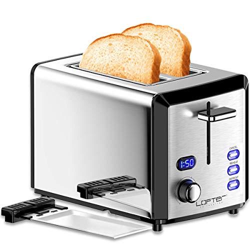 LOFTER Toaster Edelstahl Spiegel mit LED Countdown Anzeige, 2 Scheiben Toaster extra Breit Schlitz mit 6 Bräunungsstufen, Brotzentrierung, Krümelschublade, Auftau-, Aufwärm-/und Stopp-Funktion, 800W