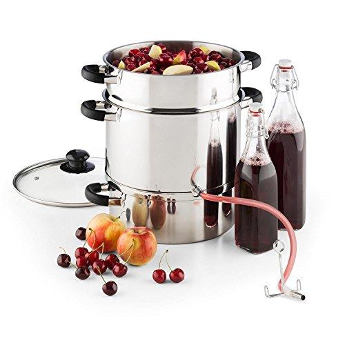 Klarstein Applebee • Dampf-Entsafter • Fruchtentsafter • Saftkocher • elektrisch • integriertes 1500 W • unabhängig vom Herd • Ø 25 cm • 8 Liter • ca. 5kg Früchte • Silber