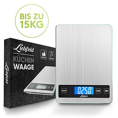 Liebfeld® Digitale Küchenwaage bis 15kg 2019er Version Haushaltswaage Edelstahl mit großer Wiegefläche + 2 Batterien