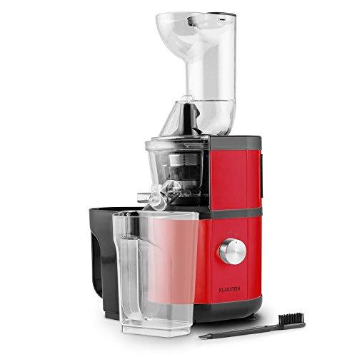 Klarstein Fruitberry • Entsafter • vertikale Saftpresse • Edelstahl-Mikrosieb • Slow Juicer • 400 W • 60 U/min. • 2 Behälter mit je 1000ml • leise • rot