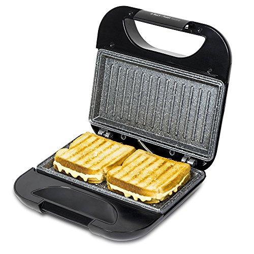 Sandwichmaker mit Platten-, Stein-beschichtet Grillplatte Rockstone. 750W Leistung, Clip-Verschluss und Hohl Kabelaufwickler. Rock 'ntoast Square Cecotec