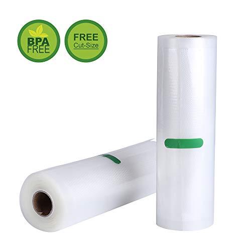 2 Vakuumrollen 20×500 cm Vakuumiergerät Profi Folienrollen Vakuumbeutel für Nahrungsmittelretter und Sous Vide Kochen,Mit Geprägte Struktur,Wiederverwendbar,Extrem Reißfest,BPA frei