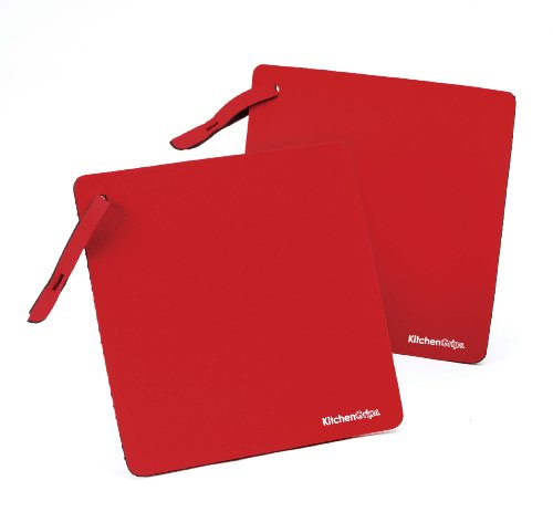 Duncan KitchenGrips 2-er Set einlagig 18 x 18cm, rot Topflappen, flxaprene, 18 x 18 x 1,5 cm