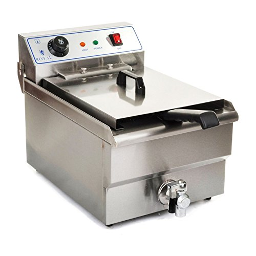 Royal Catering Friteuse Fritteuse RCEF-10EH 10 L, 3200 W, 230 V, Thermostat 60-200 °C, 47,5 x 28 x 34,5 cm, Ablasshahn, Edelstahl, inkl. Korb und Deckel