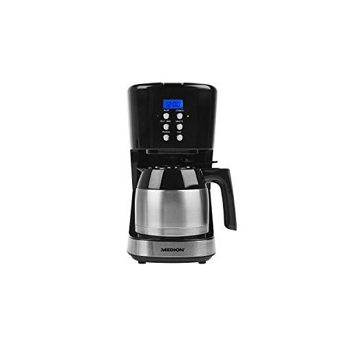 MEDION MD 18088 Kaffeemaschine mit Thermoskanne, 900 Watt, 1 Liter Fassungsvermögen, 8 Tassen, Timer-Funktion, Tropf-Stopp, schwarz