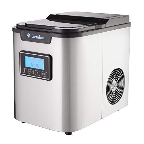 Gemlux IM-88 Eismaschine   Eiswürfelmaschine für Küchenarbeitsplatte   Macht große, mittlere und kleine Würfel   Tragbar   Für kalten Softdrinks, Kaffee, Tee, Whisky und Bier   Barzubehör