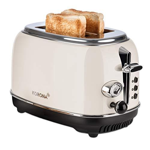 Korona 21666 Toaster, 2 Scheiben, Creme, Röstgrad-Anzeige, auftauen, rösten, aufwärmen, 810 Watt, Brötchen-Aufsatz, Krümel-Schublade, Brotscheiben-Zentrierung