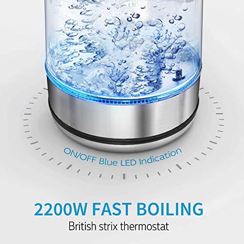 CISNO Elektrischer Tee-Kessel mit Temperaturkontrolle, blaue LED Glaskessel mit Edelstahl-Sieb, 1.7L 2200W kabelloser Kessel mit dem Tee-Infuser steiler