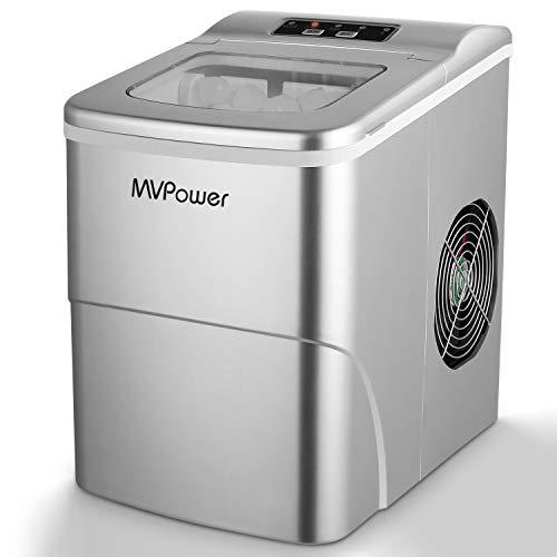 MVPOWER Eiswürfelbereiter/Eiswürfelmaschine / 12kg Eiswürfel 26 lbs / Produktionszeit 6-8 Minuten / 2 Eiswürfel-Größen / 80W~120W / 2L Wassertank/ohne Wasseranschluss/Silber Ice Maker