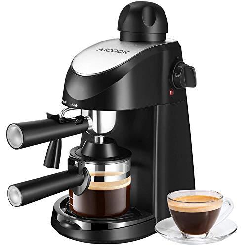 Aicook Kaffeemaschine   Klein Espressomaschine   Professionelle Milchschaum Düse für Espresso Cappuccino und Latte, 1- 4 Tasse, 800W, 5 bar, Schwarz