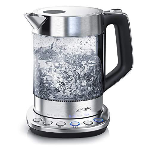 Glas Wasserkocher mit Temperatureinstellung | Warmhaltefunktion 30min | 1,5 Liter Füllmenge | Borosilikatglas | Basisstation aus Edelstahl | Modernes Design – Arendo