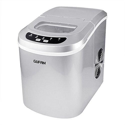 Neue Tragbare Eismaschine für Haushalt / Büro – 15kg Eis in 24 Stunden – 2 Eiswürfelgrößen wählbar Silber – GUFAN Eiswürfelmaschine