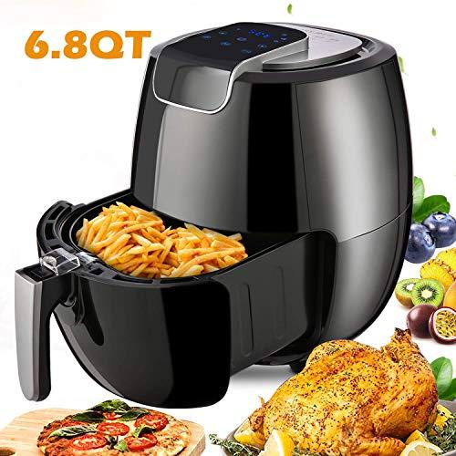 Meykey Heißluftfritteuse/Fritteuse, 6,5L, Smart Fryer Multifunktional, ohne Öl, Heißluft-Fritteuse einfach zu reinigen, mit Digitales Display, 1800 Watt, Schwarz