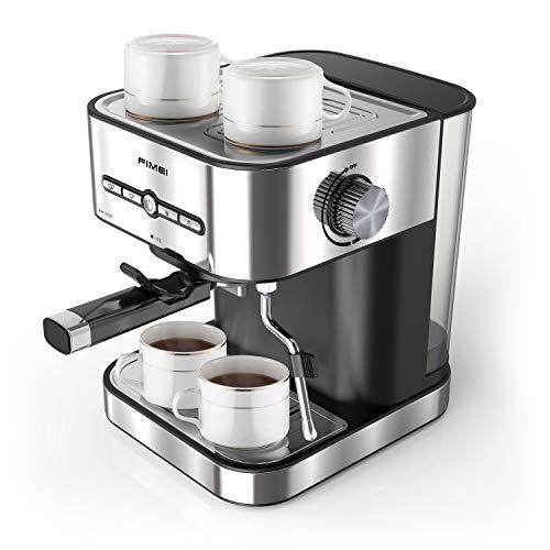FIMEI Kaffeemaschine Espresso, Espressomaschine 15 Bar, mit Milchaufschäumer für Cappuccino und Latte, 1 oder 2 Tassen Espresso, mit Wärmfunktion für Tassen, 1500ML abnehmbar Wassertank