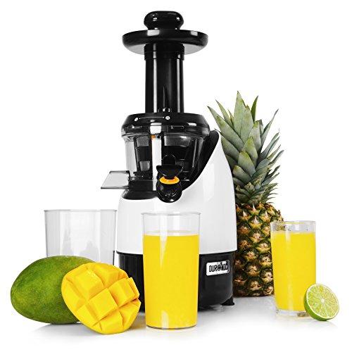 Duronic JE2 Slow Juicer | 220 Watt | langsam drehende Kaltpresse | elektrischer Entsafter | Maximaler Nährwert Frischere Nährstoffe und Vitamine für Obst und Gemüse | 1 L Saftkanne | Umkehrfunktion
