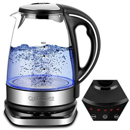 QUEENSENSE Wasserkocher Glas Teekocher Temperatureinstellung(40-100 grad) Kettle LED BPA Frei Temperaturstufen 1.7L Borosilikatglas Teekessel 2200W