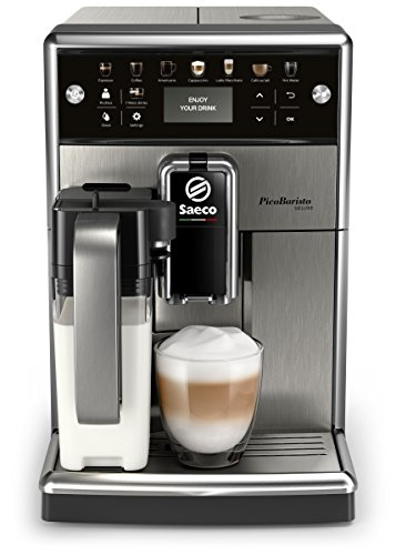 Saeco PicoBaristo Deluxe SM5573/10 Kaffeevollautomat LED Display, integriertes Milchsystem edelstahl