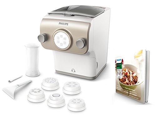 Philips HR2381/05 Pastamaker 200 Watt, vollautomatische Nudelmaschine, mit Wiegefunktion und 6 Formscheiben weiß /champagnerfarben
