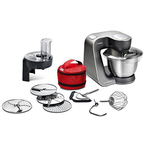 Bosch MUM5 MUM59N26DE HomeProfessional Küchenmaschine 1000 W, 3 Profi-Rührwerkzeuge Edelstahl, spülmaschinenfest, Rührschüssel 3,9 Liter, Teigmenge 2,7kg, Durchlaufschnitzler 4 Scheiben edelstahl