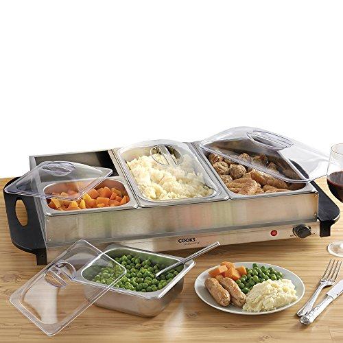 Cooks Professional Buffet-Servierkochplatte mit 4 herausnehmbaren Abschnitten und einstellbarer Temperaturkontrolle, 300 W Buffet Warmer