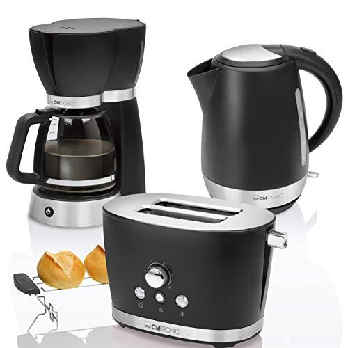 CTC Set Frühstück Vintage, Kaffeemaschine Filterkaffeemaschine 15Tassen, Brot 2Scheiben-Toaster, Wasserkocher 1,7Liter, Schwarz Retro