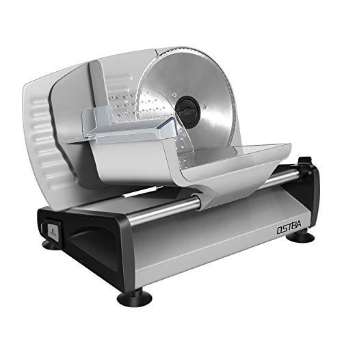 Allesschneider, elektrische Allesschneiderrostfreies Edelstahlmesser, Wurstschneidemaschine mit einstellbare Schnittstärke 0-15mm Käseschneidemaschine, Brotschneidemaschine, 150 W, Silber, OSTBA
