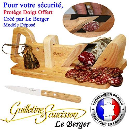 Traditionelles Wurstschneidebrett Le Berger, mit Schutz für Finger, inkl. Schneidemesser