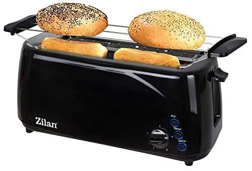 Toaster Langschlitz | 1400 Watt | 4 Scheiben Toastautomat | 5-Stufen Bräuneregler | XXL Toaster | Brötchenaufsatz | Auftau-Funktion | Krümmelschublade | Schwarz |