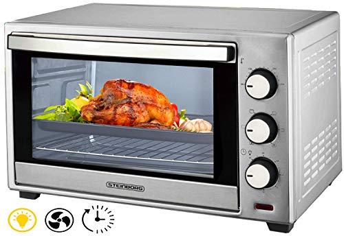 Minibackofen 38 Liter | Umluft Ofen | Pizzaofen | Mini Backofen | Freistehender Backofen | Mini-Backofen | Backofen mit Umluft | 1600 Watt | Umluft | Innenbeleuchtung | 90 min Timer | Zubehör