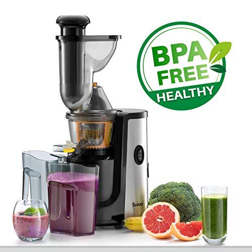Großer Einfüllschacht 75 mm, CE-Kennzeichnung, Leichte Reinigung dank Mitgelieferter Bürste – 2 Siebe Fein und grob – ⭐Slow Juicer Obst- und Gemüseentsafter, BPA-frei, Twinzee