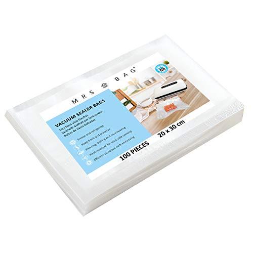 MRS BAG Folienbeutel Vakuumbeutel für JEDES Vakuumiergerät, ideal für Sous Vide, Mikrowellen & Gefrierschrank 20x30cm | 100 Beutel
