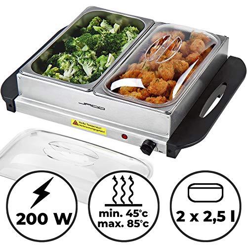 Buffetwärmer   elektrisch, mit Heizplattenfunktion, 2×2.5L, Temperaturregler, Edelstahl   Warmhaltegerät, Speisewärmer, Warmhalteplatte, Warmhaltebehälter