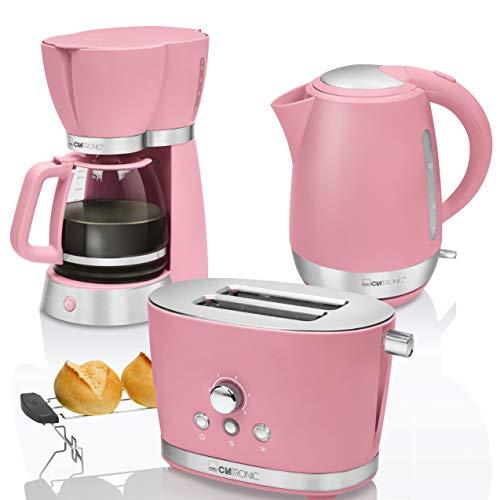 CTC Set Frühstück Vintage, Kaffeemaschine Filterkaffeemaschine 15Tassen, Brot 2Scheiben-Toaster, Wasserkocher 1,7Liter, Rosa Pastell Retro