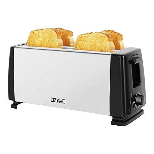 OZAVO Toaster Langschlitz, 4 Toast Scheiben, mit Krümelschublade, Doppelschlitz, Temperatureinstellung, Edelstahlgehäuse, Brotzentrierung, 1300W