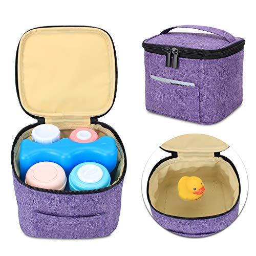 Luxja Muttermilch Kühltasche Halten Sie 4 Muttermilchflaschen, 150 ml, Auslaufsicher Kühltasche für Milchtransport, Kühltasche für 120-150 ml Babyflaschen Nur Tasche, Lila
