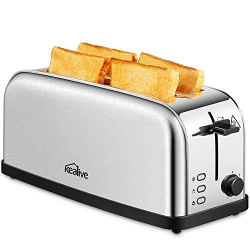 Kealive Toaster 4 Scheiben 2 Langschlitze Edelstahl | 7 Bräunungsstufen | Aufwärm-und Auftaufunktion | herausnehmbare Krümelschublade | 1500W | Silber