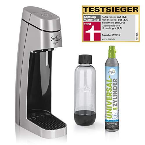 Soda Trend Style Wassersprudler-Set inkl. CO2 Zylinder | für bis zu 60 Liter Sprudelwasser, inkl. PET- Flasche Füllmenge ca. 850ml | Testsieger Stiftung Warentest 2019 Silber