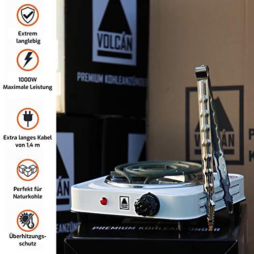 VOLCAN Cocina eléctrica para Shisha cachimba – Alicates gratuitos – Encendedor de carbón Premium Power con potente potencia de 1000W – La solución para la ignición rápida y segura de su carbón natural