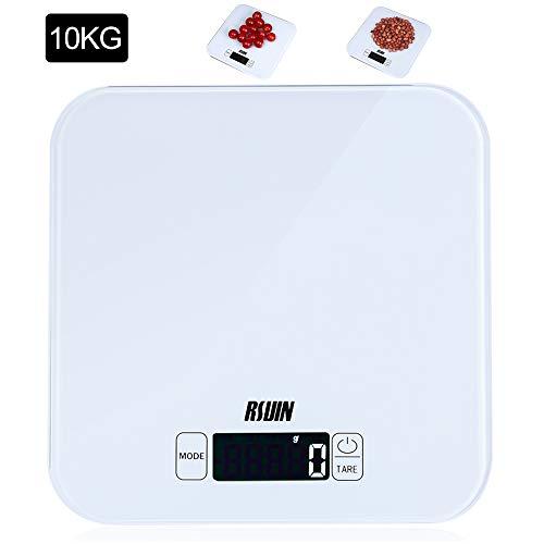 RIUIN 10KG Digitale Küchenwaage praktische Haushaltswaage Lebensmittelwaage Gehärtetes Glas Sensor-Touch mit LCD Display Batterie Inklusive Weiß