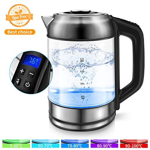 Morpilot Glas Wasserkocher Edelstahl,1.7 Liter Elektrischer Wasserkessel mit LED Innenbeleuchtung, Automatische Abschaltung Durch Strix Contoller, BPA Frei, Trockenlaufschutz, 2200W Durchsichtig2