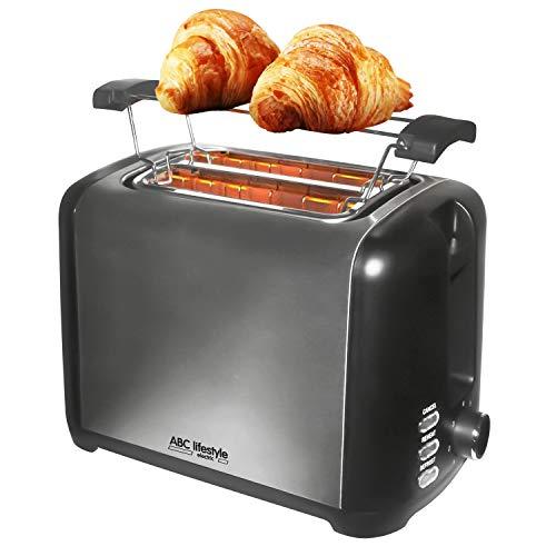 ABC Lifestyle Edelstahl Toaster 2-Scheiben, 7 einstellbare Bräunungsstufen mit Auftauen, Aufwärmen und Abbrechen Funktionen, Einfach zu Säubern Krümelschublade, 930W Große Leistung